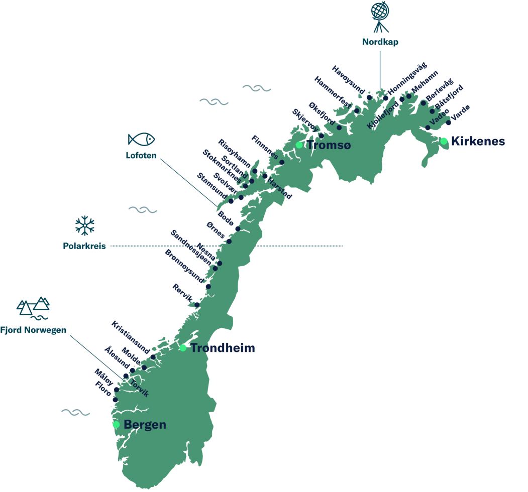 Reiseverlauf der Seereise entlang der norwegischen Küste