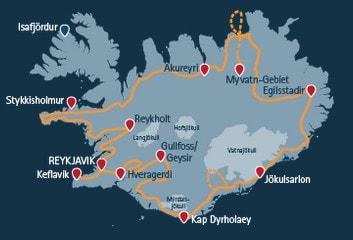 Routenverlauf der Rundreise um Island