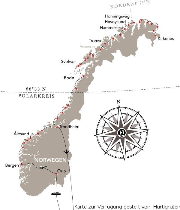 Karte Norwegen Hurtigruten.Norwegen Hurtigruten Reise Von Bergen Bis Trondheim 2019
