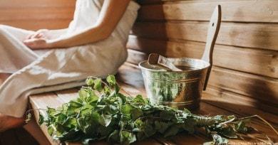 Birkenbündel: typisch für die finnische Sauna